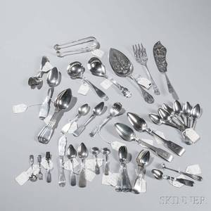 Fortysix New York Coin Silver Spoons and Serving Pieces