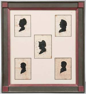Five Silhouette Portraits in a Common Frame