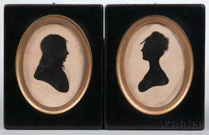 Pair of Hollowcut Silhouette Portraits of a Man and a Woman