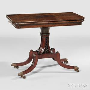 Carved Mahogany and Mahogany Veneer Card Table