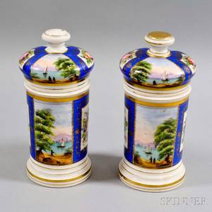 Pair of Handpainted Porcelain Covered Jars