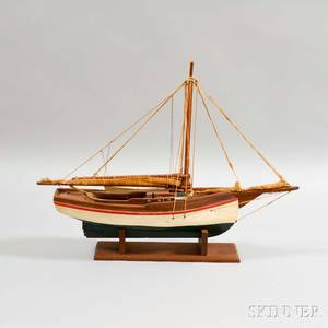 Small Carved and Painted Model of a Sailing Vessel