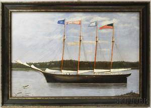 Framed Oil on Canvas Ship Portrait of the John E Devlin