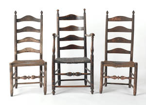 Pair of ladderback side chairs