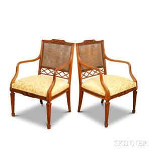 Pair of Paine Furniture Neoclassicalstyle Carved Mahogany Caned Armchairs