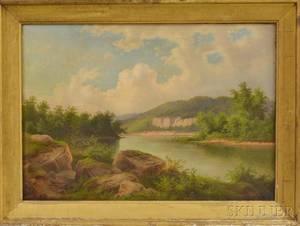 American School 19th Century Ohio River Landscape