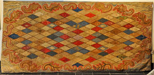 Very large American hooked rug late 19th c
