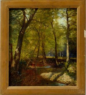 Frank Penfold AmericanFrench 18491921 Forest Scene with Creek