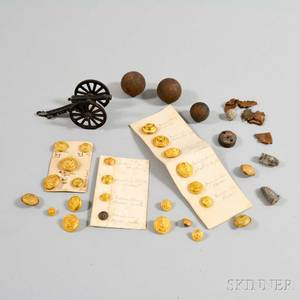 Small Group of Military Buttons Grapeshot and a Toy Cannon
