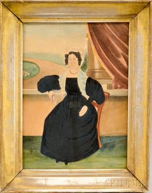 Framed Watercolor Portrait of a Seated Woman with a Book