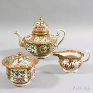 Threepiece Rose Medallion Porcelain Tea Set