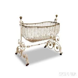 Victorian Whitepainted Cast Iron Cradle