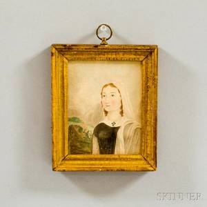 Framed Watercolor Portrait of a Girl with Cross Necklace