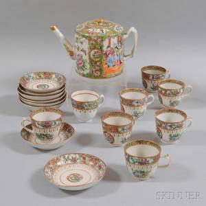 Seventeenpiece Rose Medallion Porcelain Tea Set