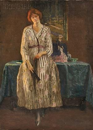 William Edgar Spader American 18751954 Portrait of Woman in an Interior