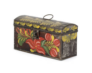 Tole decorated tin dome lidded document box 19th c