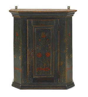 Continental painted pine hanging wall cupboard ca 1830