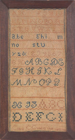 Pennsylvania silk on linen marking sampler mid 19th c