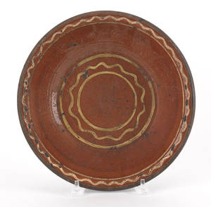 Pennsylvania or Maryland redware bowl early 19th c
