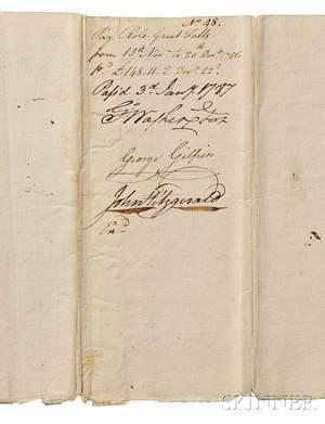 Washington George 17321799 Document Signed Virginia 3 January 1787