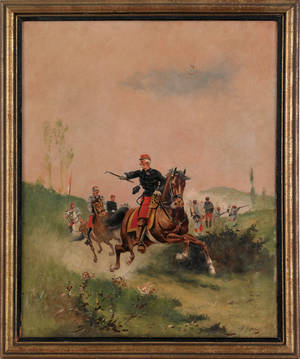 French oil on canvas military scene