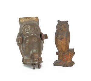 Cast iron still bank of an owl
