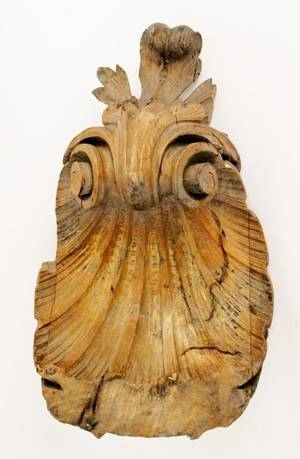 Carved Wood Architectural Shell Fragment