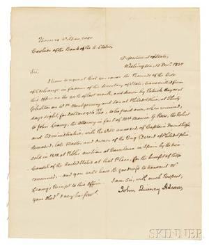 Adams John Quincy 17671848 Secretarial Letter Signed 12 December 1820