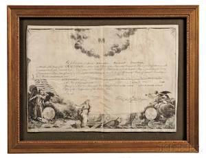 Washington George 17321799 Printed Document on Parchment Signed Order of the Cincinnati c 1797