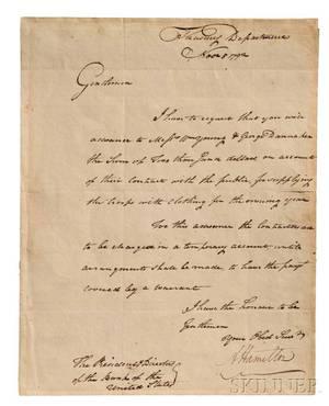 Hamilton Alexander 17571804 Letter Signed 5 November 1792