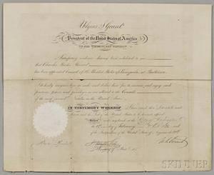 Grant Ulysses S 18221885 Document Signed 1 February 1875