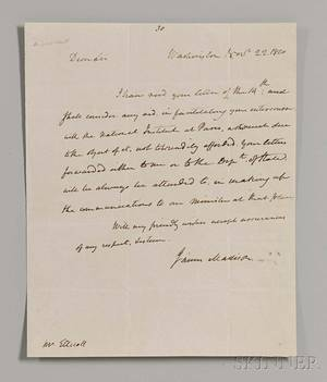Madison James 17511863 Autograph Letter Signed 22 November 1810