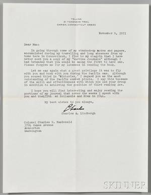 Lindbergh Charles 19021974 Typed Letter Signed 9 November 1971