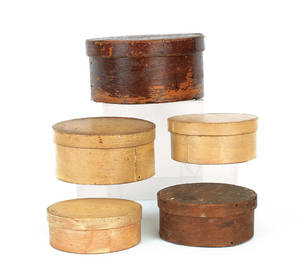 Five painted bentwood boxes