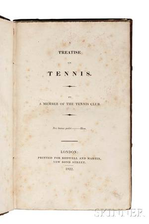 Lukin Robert fl circa 1820 A Treatise on Tennis By a Member of the Tennis Club