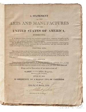 Coxe Tench 17551824 A Statement of the Arts and Manufactures of the United States of America for the Year 1810 with a Receipt Sign