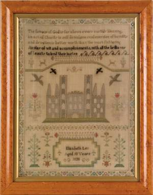 English silk on linen sampler dated 1835