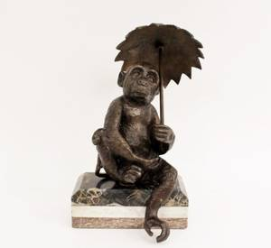 Cast Bronze Monkey with Umbrella on Marble Base