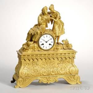 French Gilt Figural Mantel Clock