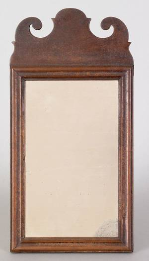 Queen Anne walnut looking glass ca 1760