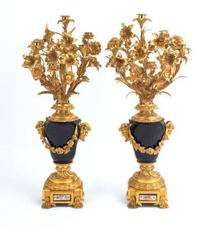Pair of French ormolu and cobalt glass candelabra