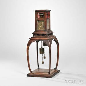 Japanese Dai Tokei or Lantern Clock on Wooden Stand