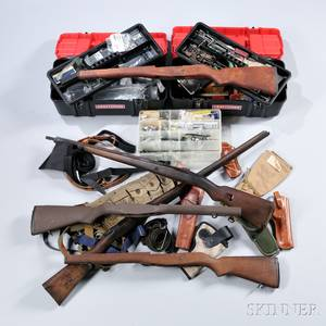 Large Group of Modern Gun Parts Stocks Magazines Holsters Etc