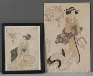 Toyohiro and Eizan Two Woodblock Prints