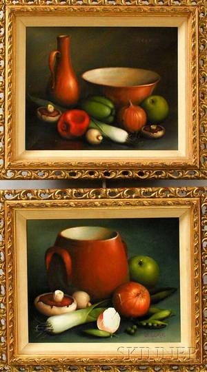 George Reekie British 20th Century Pair of Still Lifes Vegetables Bowl and Pitcher