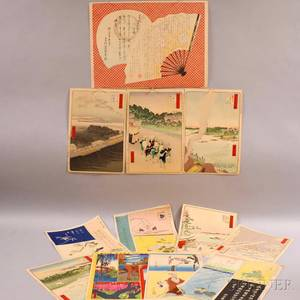 Twelve Assorted Woodblock Prints