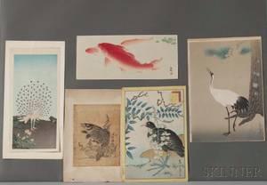 Five Woodblock Prints Depicting Birds and Fish