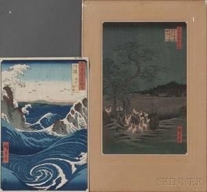 Utagawa Hiroshige 17971858 Two Woodblock Prints