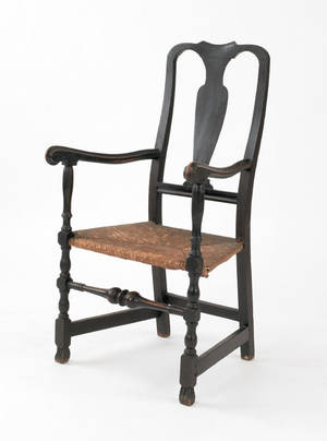New England Queen Anne rush seat armchair mid 18th c