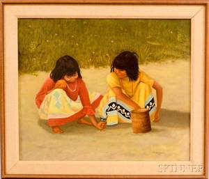 American School 20th Century Two Native American Children Playing in the Sand